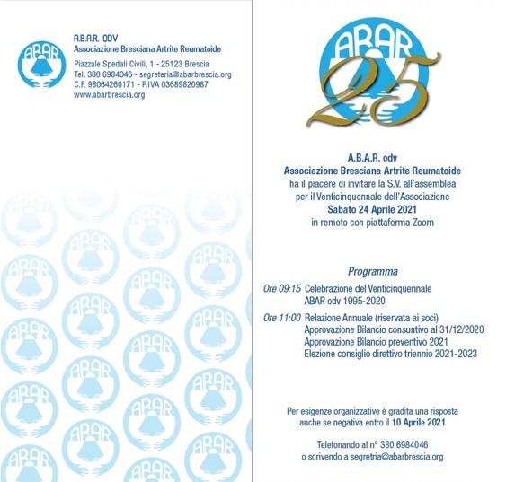 ASSEMBLEA ORDINARIA DEI SOCI ABAR odv 2021 E CELEBRAZIONE DEL VENTICINQUENNALE 1995-2020